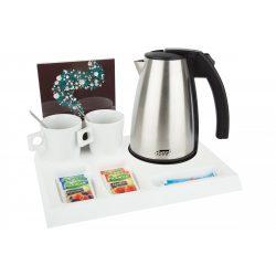 SIGNUM bekészítési tálca - fehér (vízforralóval és 2 db csészével)